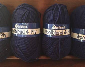 Darlaine navy blue wool blend 4-ply yarn, 4 skeins