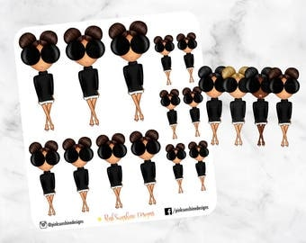 Double BUN with SUNGLASSES FASHION Doll Stickers for your Planner- Choose Hair Color