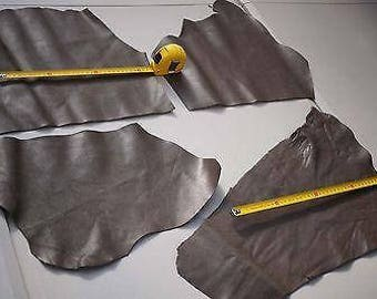 Two tone Beige stingray embossed print cowhide leather pieces bundle 0.45 KG