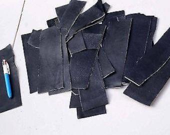 Black Cowhide strips/scrap Width 5 - 7 cm Length 20 - 22 cm 0.45 KG