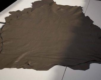 Dark khaki green Italian lambskin hides Garment leather