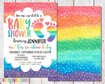 Rainbow Baby Shower Invitations, PRINTABLE Baby Shower Invitations, Rainbow Themed Baby Shower Invitation, Rainbow Baby Shower Evite