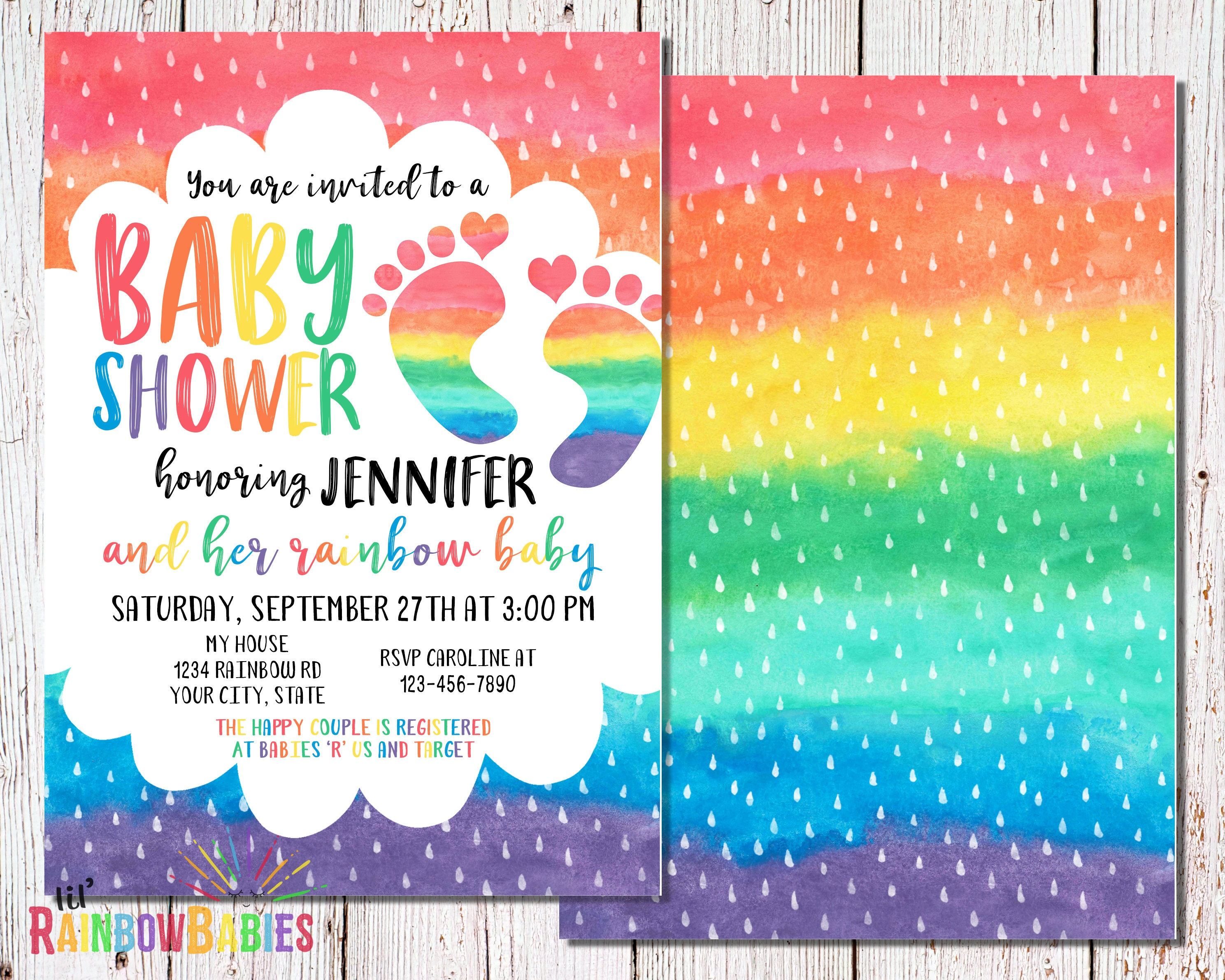 Delightful Printable Rainbow Baby Shower Invitation