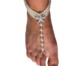 Pair of Ivory Beaded Pearl Barefoot Sandals Anklet Stunning Crystal Rhinestone Starfish, Beach Wedding Accessories, Destination Wedding