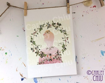 The Lady in Pink print. Floral, girly, vintage inspired wall art. Nursery kids, Valentines day gift, Children, home & living deco, roses