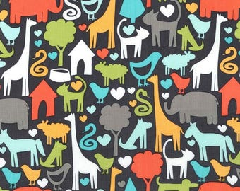 Fabric By the Yard - Animal World - Michael Miller Fabrics- Zoo Fabric - Zoo Animal Fabric - Fun Animal Fabric - Gray Animal Fabric
