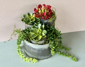 Metal Succulent Planter, Industrial metal Planter, Farmhouse Metal Planter, Rustic Wedding Decor, Joanna Gaines Decor, Fixer upper
