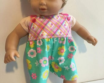 "WEEKEND SALE April Showers brings May Flowers Romper fits 14.5"" Wellie Wishers 15"" Bitty Baby 18"" American Girl"