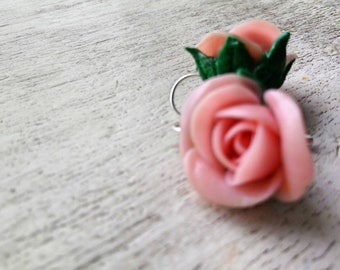 Powder Roses Earrings with roses Earrings with rose bud light pink roses earrings for wedding earrings with flowers silver 925 powder roses