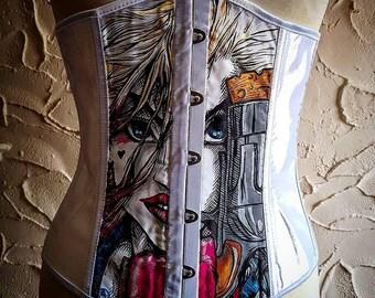 Handpainted Harley Quinn corset