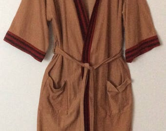 Sears Mens Store Vintage Acetate Nylon Blend Belted Bath Robe Smoking Jacket Brown Red Piping Mens One Size