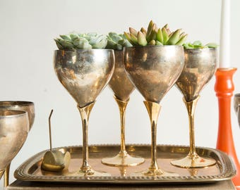 Brass Goblet Tarnished Succulent Planter Brass Chalice Brass Wine Glasses Boho Decor Cottage Decor Jungalow Decor