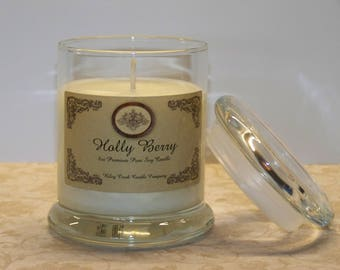 Holly Berry Premium Holiday Scent Pure Soy Candle 8oz