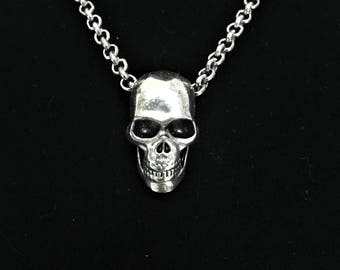 Silver Skull Pendant Necklace \\ Silver Jewelry \\ Silver Chain