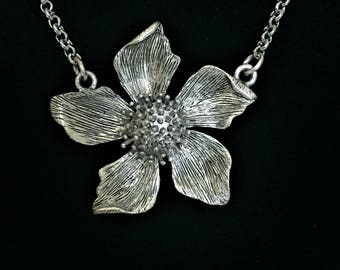 Chunky Flower Necklace \\ Silver Jewelry \\ Silver Chain
