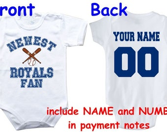 Kansas city royals baby etsy baby bodysuit newest fan royals customized personalized name number one piece bodysuit funny baby child boy negle Image collections