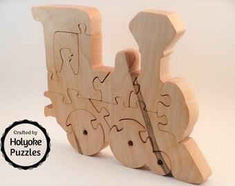 Train puzzle - Steam engine wood puzzle in maple - Train gift - Choo choo train