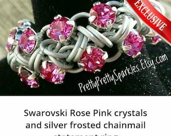 Swarovski Rose Pink crystal chainmail statement ring / Pink crystal ring / chainmail crystal ring / pink statement ring / rose crystal ring