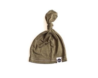 Olive Green top Knot Beanie