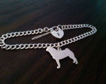 Pug charm on a Z curb bracelet solid Sterling Silver