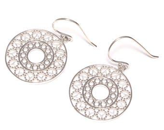 Mandala earrings 925 sterling silver