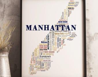 Manhattan Map Art, Manhattan Art Print, Manhattan Neighborhood Map, Manhattan Typography Art, Manhattan Poster Print, Manhattan Word Cloud
