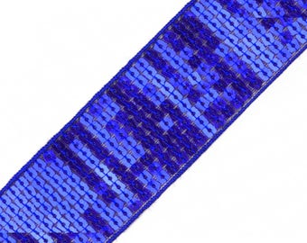 Square sequins stripe effect glitter blue electric 40 mm