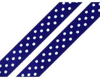 3 M Blue Ribbon with white polka dots, 10 mm wide