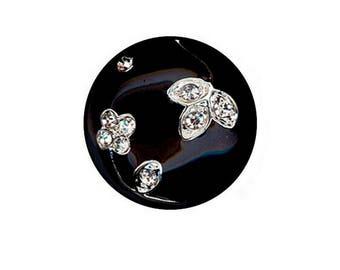 Button black enamel and rhinestone diamond 24 mm