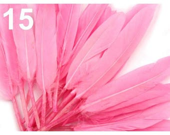 15 - 9-14 cm pink duck feathers