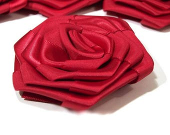 2 7 cm Red satin flowers