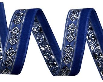 Blue Velvet and silver lurex 10 mm Ribbon