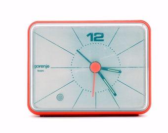 vintage 70s ALARM CLOCK by GORENJE / sigma quartz / midcentury modern / 70s orange / space age / futuristic / minimalist / Yugoslavia