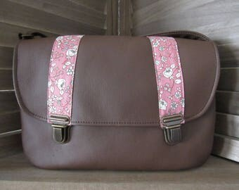 Large Brown leatherette Briefcase clasp shoulder bag and fabric flower Rose
