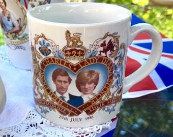 A Royal Tea Party - British Royal Family Charles and Diana Wedding Commemorative Souvenir China Mug - For Your Royals Street or Garden Party