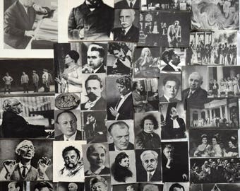 Set of 44 Vintage Book Pages Photos Photography Scrap Collage Paper Ephemera - Soviet Music Calendar for 1979 - for your projects B&W