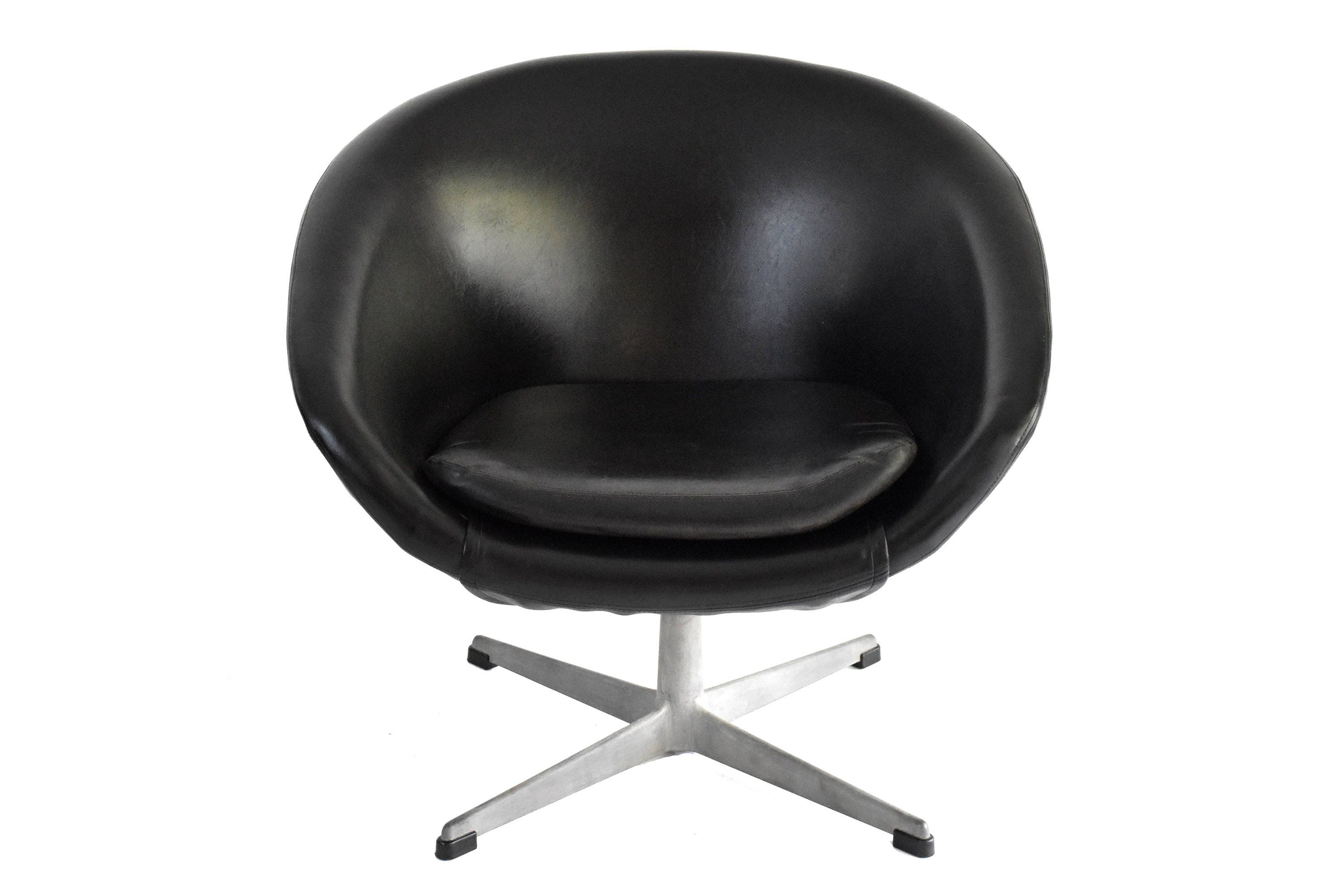 Mid Century Swivel Chair by Overman of Sweden Vintage Black