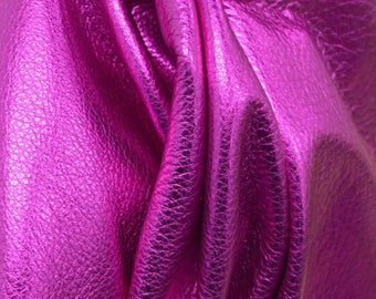 "Flamingo Deep Pink Metallic ""Vegas"" Leather Cow Hide 8"" x 10"" Pre-Cut  2 1/2-3 ounces TA-55691 (Sec. 8,Shelf 4,A)"