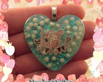 Shappo Resin Pendant with Blue Glitter and Pearls Heart Sprinkles Fairy Kei Sweet Lolita Kawaii Jewelry Japan Style