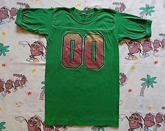Vintage 80's Kelly Green glittery iron on Jersey Ringer T shirt, size Small super soft #00