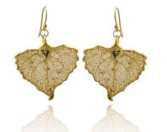 Cottonwood Leaf Earrings in 24 K Gold Electroplate/Nature Jewelry/Nature Earriings/Genuine Cottonwood Earrings/Real Cottonwood Leaf Earrings