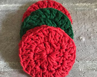 Set of 3 dish/face scrubbies, cotton crocheted scrubby set