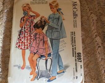 D058 McCalls pattern girls nightgown size 10  6697
