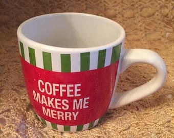 E096 Coffee makes me merry white Ceramic coffee cup mug