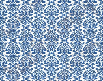 White and blue damask floral craft  vinyl sheet - HTV or Adhesive Vinyl -  HTV4206