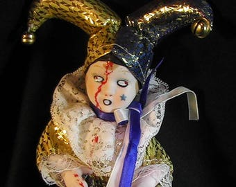 Horror Jester Doll, Haunted House Clown, Scary Jester, Evil Clown, Creepy Clown, Haunted Clown, OOAK