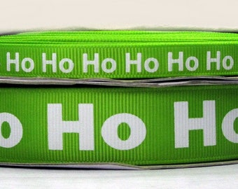 "2 or More Yards 3/8"" US Designer New Apple Green Ho Ho Ho Christmas Holiday Print Grosgrain Ribbon"