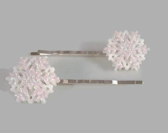 White Snowflake Hair Pins - Snowflake Bobby Pins - Christmas Hair Pins - Winter Hair Pins - Snowflake Hair Accessories