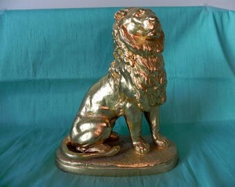 vintage French bronze Lion sculpture by Charles Valton 1910, 24 gold plated
