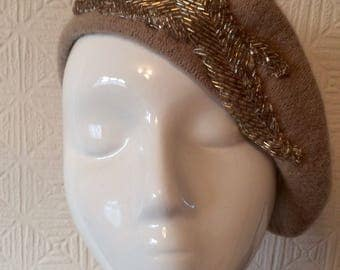 100% wool beige beret with beaded embellishment